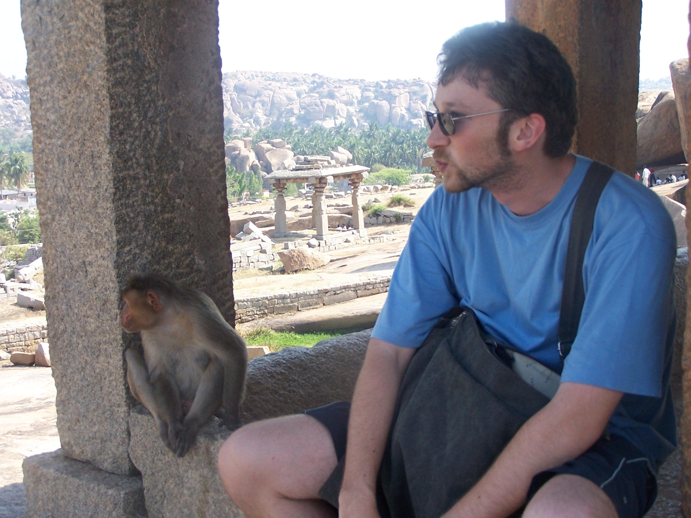 With a friend, Hampi, India